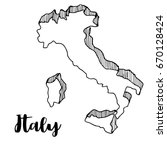 hand drawn of italy map  vector ... | Shutterstock .eps vector #670128424