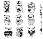 set of cute owls for design... | Shutterstock .eps vector #670129558