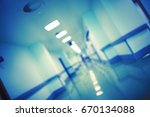 night hospital hall  unfocused... | Shutterstock . vector #670134088