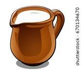 brown ceramic jug with milk ... | Shutterstock .eps vector #670134670