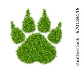 dog paw print made of green... | Shutterstock .eps vector #670136518