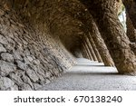 tunnel passage with pillars... | Shutterstock . vector #670138240