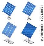 set of solar panels in...   Shutterstock .eps vector #670138534