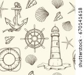 summer vintage nautical... | Shutterstock .eps vector #670141618