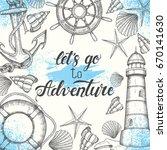 summer vintage nautical... | Shutterstock .eps vector #670141630