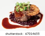 Tenderloin steak with sauce - stock photo