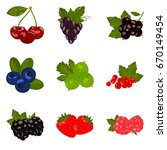 set of color flat berries icons ... | Shutterstock .eps vector #670149454