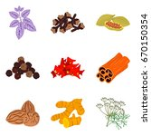 set of color flat spices icons... | Shutterstock .eps vector #670150354