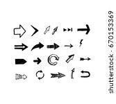 hand drawn vector arrows set....   Shutterstock .eps vector #670153369