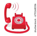 red stationary phone with... | Shutterstock .eps vector #670168336
