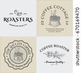 set of vector vintage coffee... | Shutterstock .eps vector #670169470