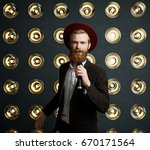 attractive good looking young... | Shutterstock . vector #670171564