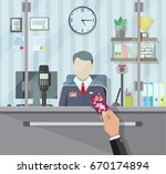 bank teller behind window. hand ... | Shutterstock .eps vector #670174894