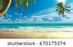shore of the ocean | Shutterstock . vector #670175374