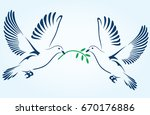 two doves flying with a green... | Shutterstock .eps vector #670176886