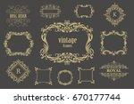 set of  vintage floral frames... | Shutterstock . vector #670177744
