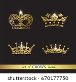 set of  gold crown icons. | Shutterstock . vector #670177750
