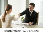 smiling friendly businessman... | Shutterstock . vector #670178623