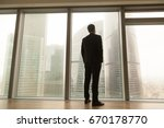 contemplative businessman... | Shutterstock . vector #670178770