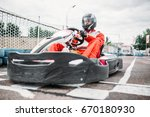 kart racer on start line  go... | Shutterstock . vector #670180930