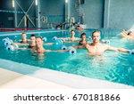 aqua aerobics  healthy... | Shutterstock . vector #670181866