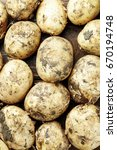 Small photo of A lot of crude unwashed potatoes, agrarian background, space for text