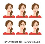 collection of woman's emotions. ... | Shutterstock .eps vector #670195186
