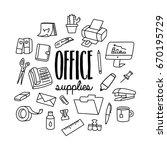 office supplies. set of office... | Shutterstock .eps vector #670195729
