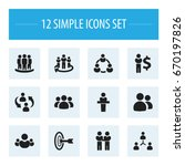 set of 12 editable cooperation... | Shutterstock .eps vector #670197826
