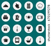 set of 16 editable cook icons.... | Shutterstock .eps vector #670199278