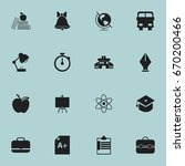 set of 16 editable school icons.... | Shutterstock .eps vector #670200466