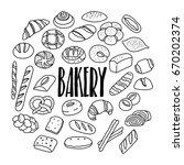 bakery goods hand drawn doodle... | Shutterstock .eps vector #670202374