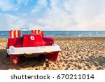 colorful of pedalo parked on... | Shutterstock . vector #670211014