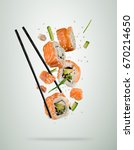 flying sushi pieces served on... | Shutterstock . vector #670214650