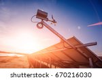 back view of solar panel.... | Shutterstock . vector #670216030