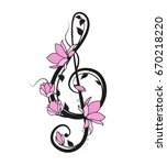 Music Key With Flowers