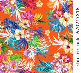 floral repeating tropical... | Shutterstock . vector #670219318