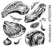 hand drawn sketch meat set.... | Shutterstock .eps vector #670225786
