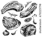 hand drawn sketch meat set.... | Shutterstock . vector #670225798