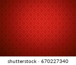 Red Damask Wallpaper With...