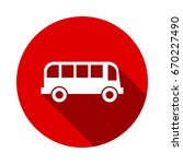 bus vector icon isolated on red ... | Shutterstock .eps vector #670227490