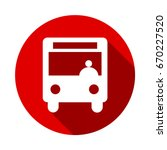 bus vector icon isolated on red ... | Shutterstock .eps vector #670227520