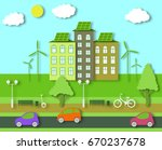 paper ecology concept. city... | Shutterstock .eps vector #670237678