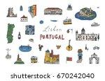 lisbon portugal city doodle...   Shutterstock .eps vector #670242040
