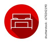 bed icon isolated on red... | Shutterstock .eps vector #670242190
