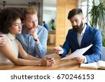 couple reviews financial... | Shutterstock . vector #670246153