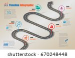 design template  road map... | Shutterstock .eps vector #670248448