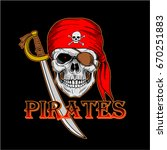 skull pirate with red bandana... | Shutterstock .eps vector #670251883
