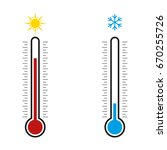 thermometer. hot  cold. vector... | Shutterstock .eps vector #670255726