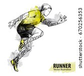 hand sketch of a running man.... | Shutterstock .eps vector #670256353